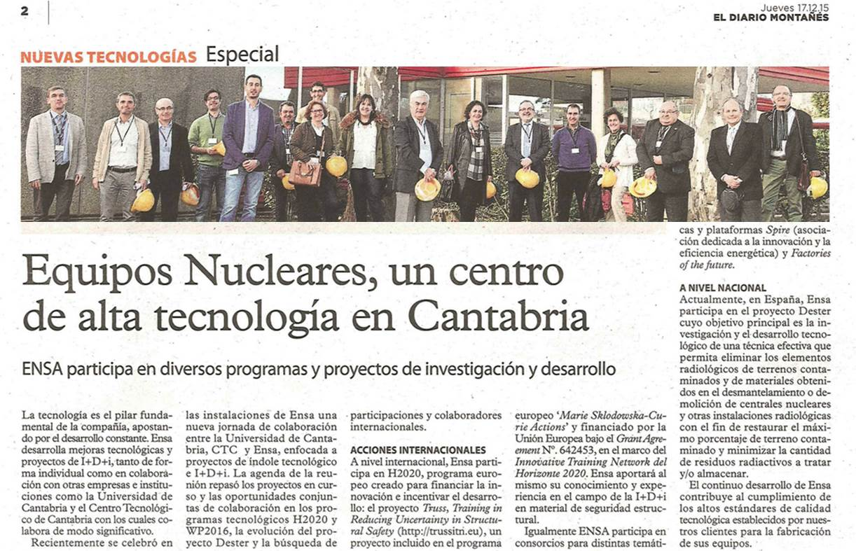 TRUSS ITN acknowledged in Spanish newspaper