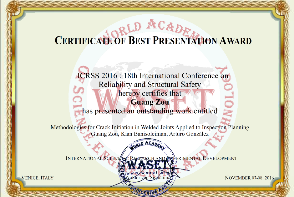 Best paper presentation at ICRSS 2016